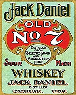 Jesiceny New Tin Sign Jack Daniel Old No. 7 Whiskey Aluminum Metal Sign for Wall Decor 8x12 INCH