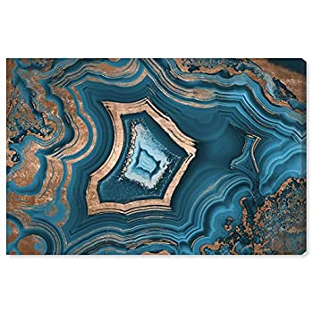 The Oliver Gal Artist Co Abstract Wall Art Canvas Prints  Dreaming About You Geode  Home Décor 36  x 24  Blue Gold