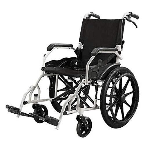 ZHAS Manueller Rollstuhl, senioren Rollstuhl mit Rotating Pedale, mit Eigenantrieb Rollstuhl faltbar, Alt faltbaren Rollstuhl, Geeignet für Menschen mit Behinderungen, Schwarz
