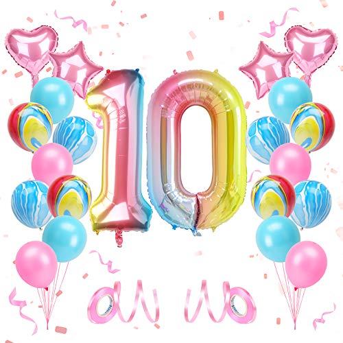 KATELUO Globo de Cumpleaños 10 Años, Decoración de Cumpleaños 10 Años, Globo Numero 10 Gigante, Cumpleaños Globos 10 Años Niña, Globos de Cumpleaños Niña 10 Años para Fiestas de Cumpleaños