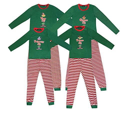 Pijamas de Navidad a Juego con la Familia Pijamas de Elfo para niños Niños Pijamas de Navidad Regalos para niñas Ropa de Dormir para Mujer Traje de Hombre (L, Queen Elf)