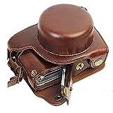 Bolsa para Cámara Funda de Cuero para cámara Digital de Cuerpo Completo de Ajuste preciso para Panasonic Lumix Dc-Gf10 Gf9 Gf8 Gf7 Gx900 Gx950 Gx850 Gx800, marrón