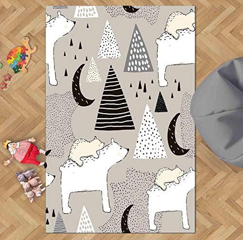 QAQV schwarz grauweißZeltMoon Star 3D Print rutschfeste Kinder kinderzimmer dekorative Bereich Teppich Kinder mat 1.3M*1.8M