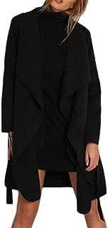 Women Trench Wool Blend Coat Long Sleeve Pea Coat Open Front Jacket Overcoat Cardigan