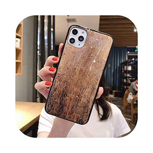 Carcasa de lujo con purpurina dorada y textura de granito para iPhone 11 Pro Xs Max X XR 6 6S 7 8 Plus suave cubierta posterior - dorado grano de madera D39-para iPhone 11 Pro
