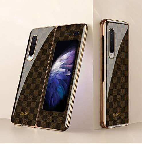 SHIEID Funda para Samsung Galaxy Fold 5G Funda con [Anti Choques]+[Anticaída], Carcasa de Vidrio Templado Multicolor, Carcasa para Samsung Galaxy Fold 5G-Ajedrez Marrón