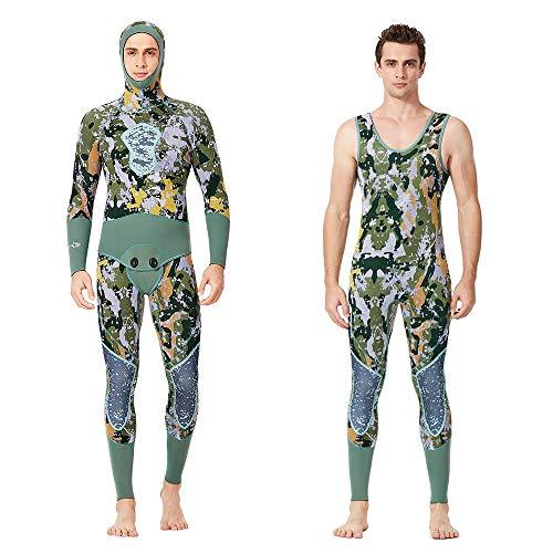 NCBH Wetsuit Heren 5mm Neopreen Volledige Scuba Duikpak 2-delig Snorkeling surfen Jumpsuit Hoodie Thermal UV Protection badpak, Camouflage.
