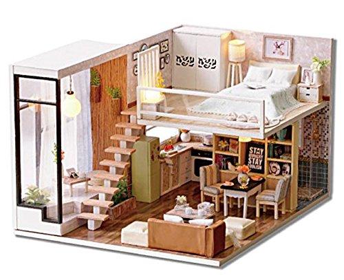 (リトルスワロー) LtSw DIY 手作り ミニチュア ドールハウス 2階 メゾネット 北欧風 モダン ルーム 初心者 中級者 上級者 誰でも楽しめる 建築模型 精密 モデル 作る楽しみ ロマン 知育玩具 模型 可愛い (北欧ロマン キュート)