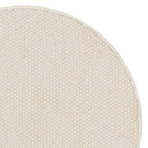 URBANARA runder Teppich Kolong - 100% Reine Woll-Baumwoll-Mischung, Eierschale, handgewebt – 150 x 150 cm, Wollteppich, Wohnteppich, Schlafzimmer-Teppich, Wohnzimmer-Teppich, Kinderzimmer-Teppich