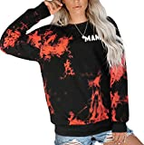 KUNISUIT Women Tie Dye Mama Print Crewneck Pullover Casual Crewneck Sweatshirts(Medium, Orange-20)