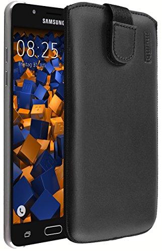 mumbi ECHT Ledertasche Samsung Galaxy J5 (2016) Tasche Leder Etui schwarz (Lasche mit Rückzugfunktion Ausziehhilfe)