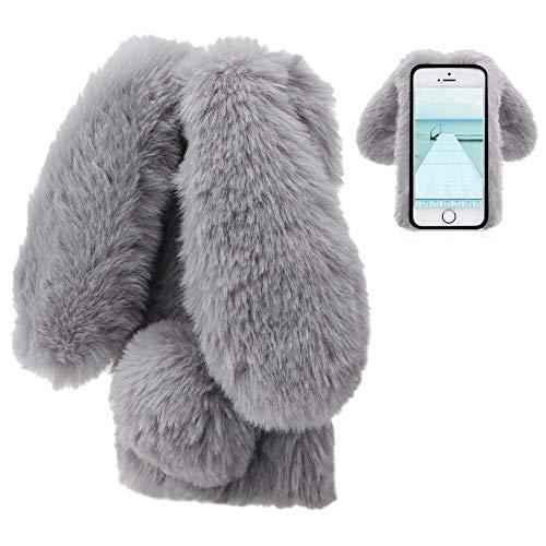 LCHDA Plüsch Hülle für iPhone 6/iPhone 6S Flauschige Hasen Fell Handyhülle Für Mädchen Süße Winter Warm Weich Kaninchen Pelz Niedlich Hasenohren Handytasche Schützend Stoßfest TPU Silikonhülle-Grau