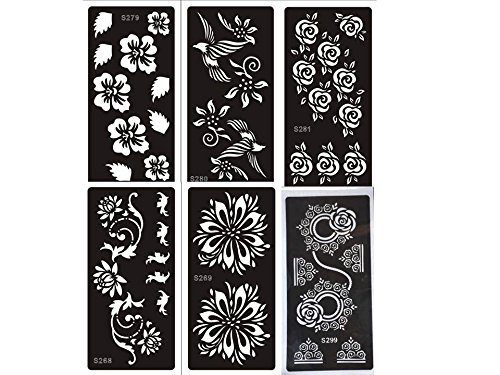 Tattoo Schablonen Set Blumen 6 Sheets für Henna, Glitter Tattoo und Air Brush Tattoo