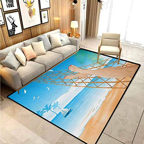 Beach Soft Rugs for Living Room Legs of The Sexy Lady Laying in The Hammock Toward The Ocean in Hawaiian Tropical Modern Indoor Home Living Room Floor Carpet Cream Blue 5 x 7 Ft