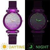 SDGSS Femmes Regarder Magnet Boucle De Luxe Dames Robe En Acier Inoxydable Ciel Lumineux Montre Bracelet Cadeau-Violet Reloj De Pulsera