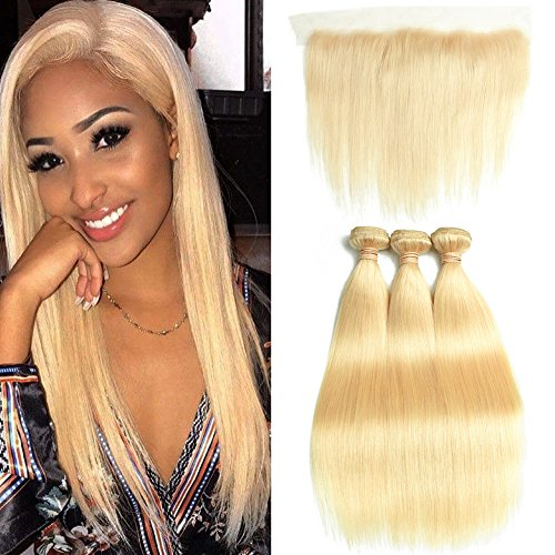 DACHIC 613 Blonde Human Hair Bundles with Frontal 9A Brazilian Straight Hair 3 Bundles with Frontal Closure 100% Virgin Human Hair Weave with 13x4 Lace Frontal (12 12 12+10)