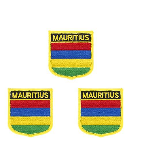3 Stück Mauritius-Flagge bestickt Shiled Form Aufbügler Applikation Aufnähen