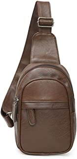 Lcxliga Men Leather Sling Bags Chest Backpack Crossbody Shoulder Bags Casual Travel Hiking (Color : Brown)