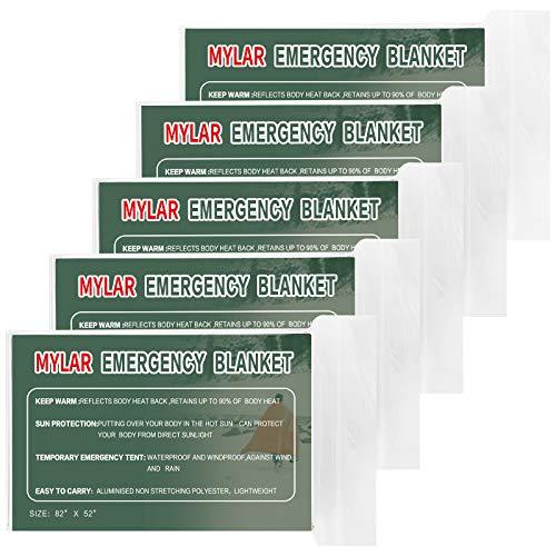 Mylar Blanket|Emergency Blankets|Thermal Space Blanket(5-Pack) for Outdoor Hiking Camping Survival kit