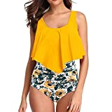 Sasstaids Bikini Brasiliana con Volant Costume da Bagno Donna Due Pezzi Halter Beach Swimwear Set Bikini Push Up Donna Mare Stampa Boema Bikini Vita Alta