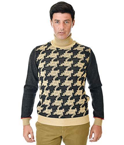 MANUEL RITZ Herren Rollkragen beige schwarz Strickwolle, 2732M534 193837, Mehrfarbig, 2732M534 193837 Small