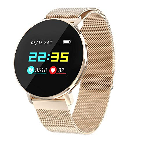kati-way Smartwatch Damen Herren Armbanduhr Cardio Wasserdicht IP68 Smartwatch Kinder Fitness Tracker Sport Schrittzähler für iPhone Samsung Huawei Android iOS Smartphone, roségold