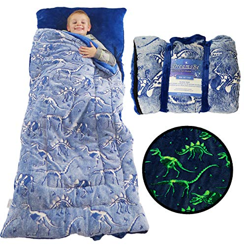 Dinosaur Sleeping Bag Glow in the Dark Dino Slumber Bag for Boys - Plush Glowing T-Rex Nap Mat for Kids- Luminescent Blue Large 66in x 30in Warm Durable Sleeping Blanket Pad for Girls - Dinosaur Gift