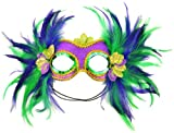 Mask It 48035 Mardi Gras Satin and Feather Half Mask, Purple