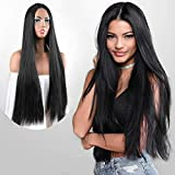 HMD 30 Inches Long Black Wig Straight Hair Wigs for Women Natural Looking Middle Part Wigs Long Straight Black Wig Synthetic Heat Resistant Fiber Daily Party Wear (Color:Black)