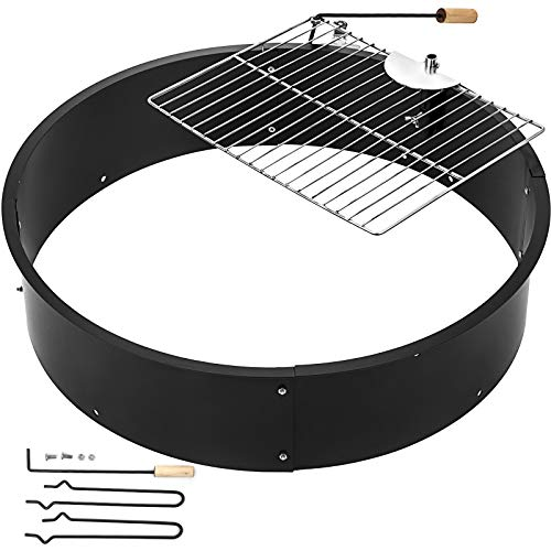 FORAVER Fire Pit Pan Fireplace Ring Solid Steel Fire Pit Liner Ring 3.0mm Thick DIY Campfire Ring with Camping Park Grill for Outdoor Camping(32x32x7.8inch)