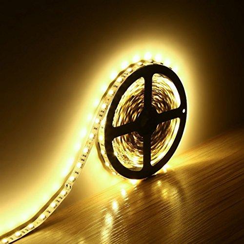 Minger Flexibel LED Streifen 5050 SMD 300 LEDs 5M/16.4ft LED Lichtband, Warmweiß, Nicht Wasserdicht IP20 LED Lichtleisten, Ideal für zu Hause und Feiertagsdekoration
