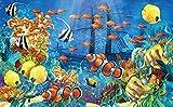 Papel pintado de murales grandes, Mural marino mundial de dibujos animados, dormitorio para niños, acuario, sala de estar, telón de fondo, papel de pared, decoración del hogar