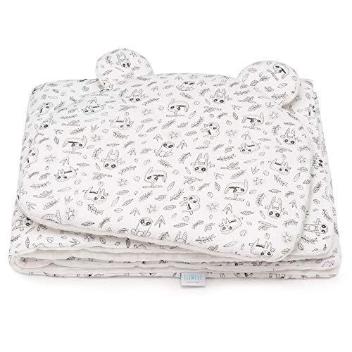 EliMeli Babydecke und Babykissen Set - aus 100% Musselin Baumwolle - Kinder Baby Decke mit Kopfkissen für Mädchen und Junge - Kuscheldecke mit Kinderkissen für Kinderwagen oder Bett - Weiß
