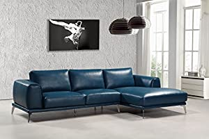"""Perfectly Sized: The Sectional In The Dexter Collection Measures 65""""L x 118""""W x 33""""H and Weighs 260lbs To Perfectly Fit Your Home. Some Assembly Required Exceptional Construction: This Sectional Sofa Features A Durable Faux Leather Upholstery and Sta..."""