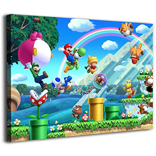 Histivich Canvas Boards for Painting Wall Mural New Super Mario Bros U Box Posters Framed Canvas Wall Art 16x12inch