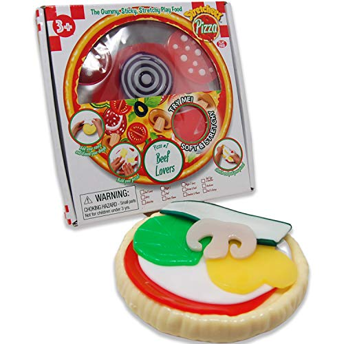 Stretcheez Pizza - Play Food for Kids - Stretchy Pretend Food & Toppings - Mix & Match - Collect Them All - Works with Role Play Kitchens - Twelve Assorted Sets Available for Boys & Girls