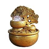 fuente de interior de agua relajantes Fuente de mesa de mesa de mesa de mesa de mesa con monedas de oro afortunado de oro, calmante, calmante, calmante y relajante, sonido de agua para la decoración d
