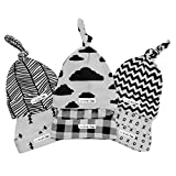 Baby Beanie Set (Grey/Black Clouds) for Newborn Boys & Girls | 100% Adjustable Knot Hats | 6 Pack of Fitted Caps