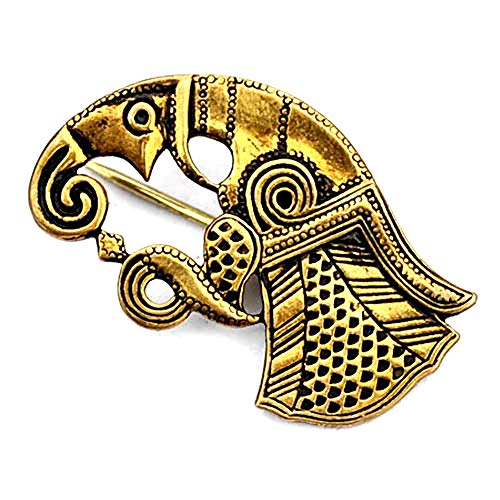 Wikinger Rabenfibel Gotland Gewandschließe Mystische Brosche Wikinger Gewandschmuck Fibel (Bronze linksschauend)