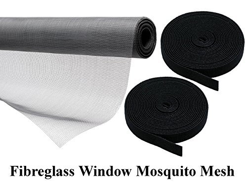 Lifestyle-You™ Heavy Quality 110 GSM PVC Coated Fibreglass Window Insect Mosquito Mesh Net with Hook & Loop Tape for Installation (Dark Grey) (150x240 cm)