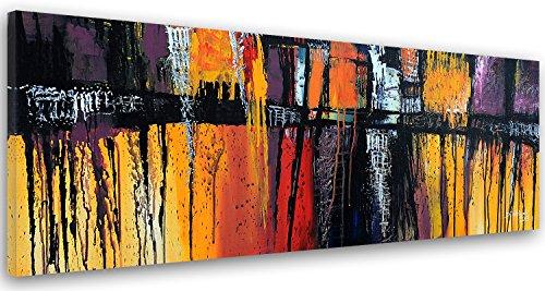 Feeby. Cuadro en Lienzo - 1 Parte - 40x100 cm, Imagen impresión Pintura decoración Cuadros de una Pieza, Abstracto, Naranja, PÚRPURA