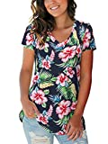 Hawaiian Shirts for Women Ladies Tops Summer Short Sleeve V Neck Navy Blue XL
