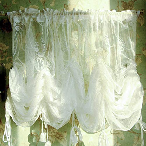 FADFAY European Style Embroidered White Lace Balloon Sheer Curtains for Living Room Bedroom Adjustable Tie-Up Curtain 1 Panel 78''78''