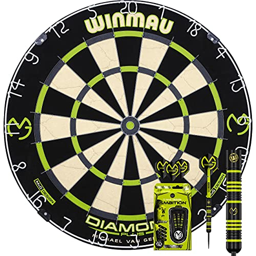 Winmau MvG Diamond Edition Michael Van Gerwen Bristle Dart Board Dartscheibe & MvG Ambition Black Brass Steeldart 22 g GOKarli Flights Starterpack