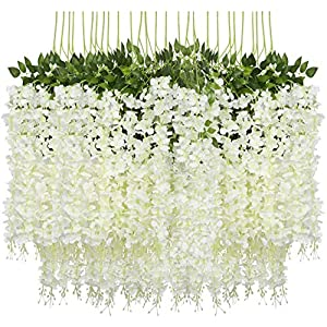 Ulalaza 24PCS 3.6FT Wisteria Artificial Flowers Garland Fake Hanging Vine Silk Flower String Greenery Rattan for Wedding Party Garden Home Decor