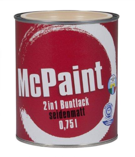 McPaint 2in1 Buntlack Grundierung und Lack in einem für Innen und Außen. PU verstärkt - speziell für Möbel und Kinderspielzeug seidenmatt Farbton: RAL 1015 Hellelfenbein 0,75 Liter - Bastellack