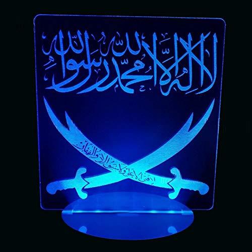 Estilo árabe dos cuchillos LED luz de noche lámpara de mesa 3D visual USB decoración creativa