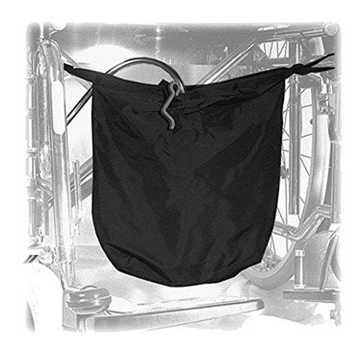 Urinbeuteltasche gross für Rollstuhl, 30 x 30 cm, diskret und blickdicht, schwarzes Nylon, mit Klett