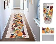 Comercial Candela Alfombra de Pasillo de Textil Resinado Antimanchas, Lavable   Base PVC Antideslizante y Aislante Diseño Flores Japonesas (52_x_100 CM)