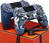 AUGEX Camo Blue and Midnight Blue 2 Pack Wireless Controller Compatible with P - 4 with 2 Pack Cables and 4 Rainbow Caps with touchpad/Stereo Headset Jack